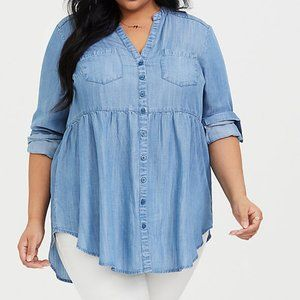 Torrid Emma Chambray Babydoll Tunic Top